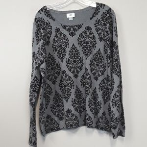 Old Navy Black & Gray Victorian Print Sweater